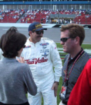 Dale Earnhardt with Jeff and Kim Burton at Daytona, February 2001