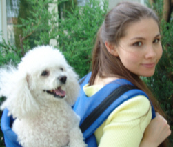 Marjorie M. Liu and her poodle Daisy.