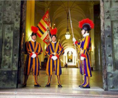 Photo of The Swiss Guards outside the Papal Apartments in the Vatican.