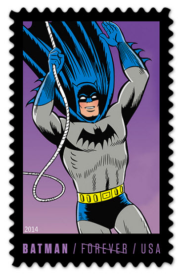 USPS Forever Stamp with Batman climbing a rope