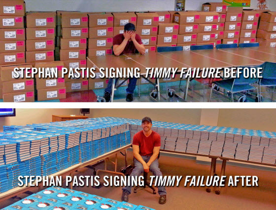 Stephan Pastis before and after signing 5,000 copies of Timmy Failure