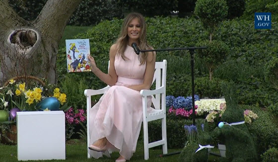 Melania Trump reads to children at the White House Easter Egg Roll