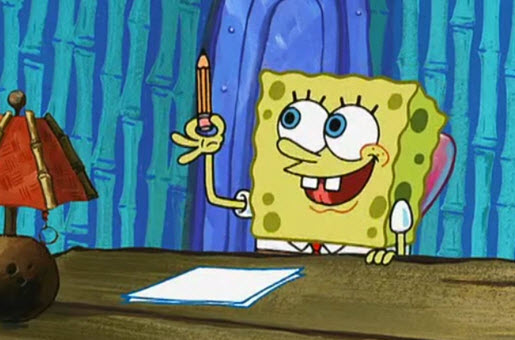 SpongeBob writing